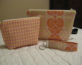 Cosmetic / Gadget Bag Set Including Key Fob DESIGN YOUR OWN