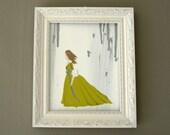 shabby chic art | original painting | pre-raphaelite | fantasy art | whimsical | green | grey | silver | romantic art | girl's room decor