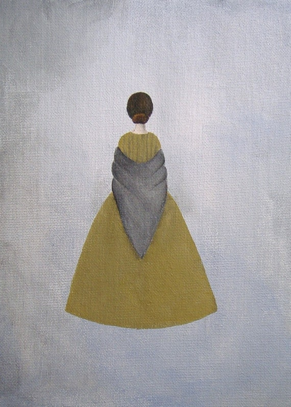 """VICTORIAN Art PRINT Original Reproduction Print 5x7 Jane Eyre BRONTE Woman Grey Olive Green - """"The Governess"""""""
