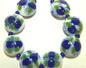 Handmade Lampwork Beads  -Blue Roses on White Monet Lentils- SRA S105
