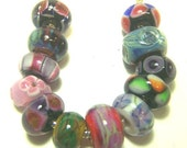 Lampwork Beads, Set 3 -Mixed Dozen Unlined-( European Style Bead)  SRA S105