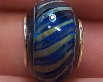 Lampwork Bead -Blue Twister- ( European Style Lined Bead) SRA S105
