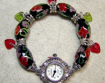 Red and Pink Flower Paper Weight Beads Watch SRA S105