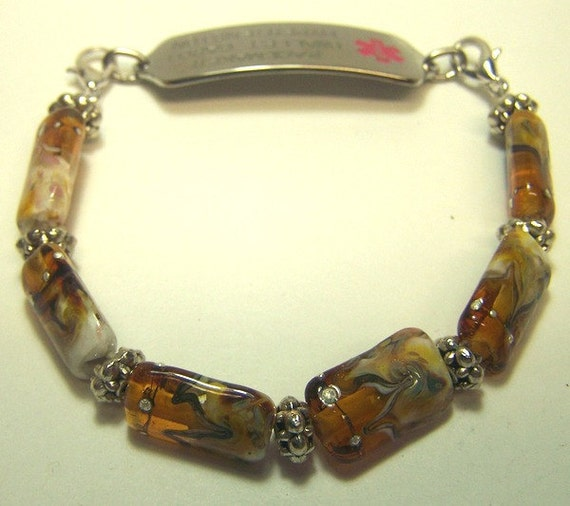 Medical Alert Bracelet / Watch Band with Handmade Glass Beads -Gwenivere in Topaz- SRA 105S