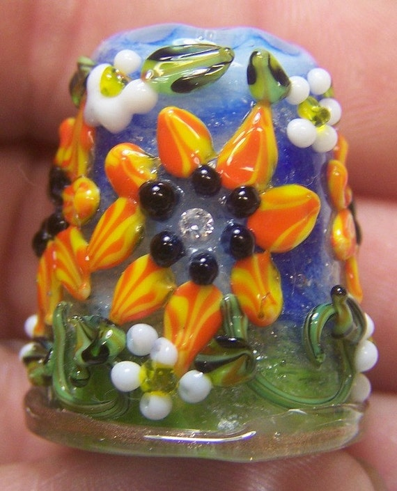 Handmade Lampwork Glass Thimble -Orange CZ Sunflower-  SRA  S105