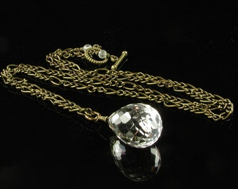 Rock Crystal Pendant and Bronze Necklace