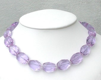 Lavender Quartz Necklace with Art Nouveau Clasp