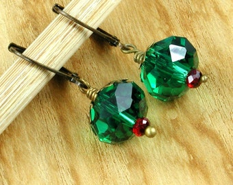 Green Crystal Christmas Earrings with Bronze