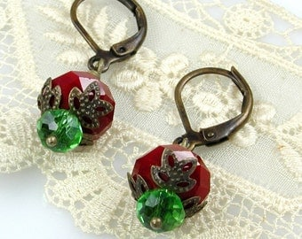 Red and Green Crystal Christmas Earrings with Bronze Leverbacks