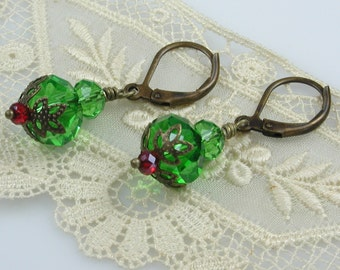 Green Crystal Earrings Bronze and Red Accents