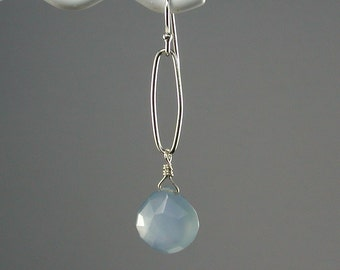 Blue Dangle Earrings Chalcedony Sterling Loop