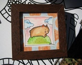 Orignal FRAMED watercolor painting WOMBAT HILL