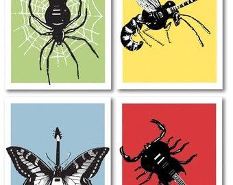 4 Guitar 8 x 10 silkscreen Art Prints featuring Wasp, Scorpion, Butterfly, Spider. Screenprints for musicians and Rock music fans.