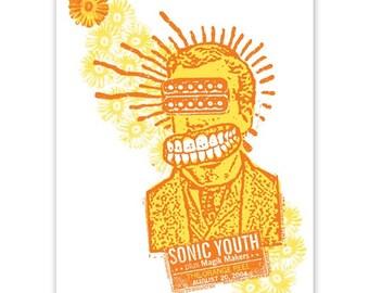 Sonic Youth, Kim Gordon Thurston Moore concert poster, silkscreen NC gigposter screenprint, Humbucker head.