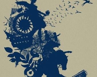 World Worth Saving Collage Silkscreen Art Print poster. Screenprinted - Horses, Music, flowers, kids, trees, birds.