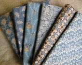 BLUE REPRODUCTION FAT QUARTER BUNDLE, ALL COTTON, IDEAL FOR QUILTING AND SEWING