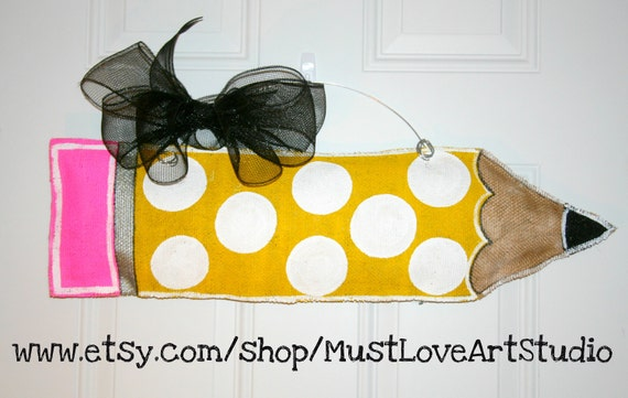 Teacher Appreciation Pencil Burlap Door Hanger Decoration HUGE - Polka Dots Back to School