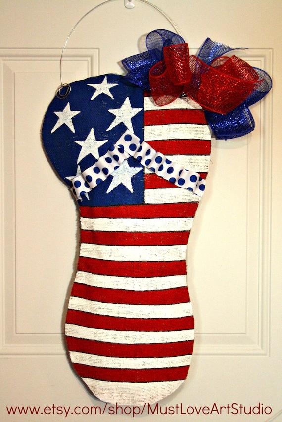 Patriotic Fourth Of July Flip Flop Wood Door By Mustloveartstudio