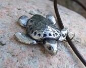 Sea Turtle Necklace, Ridley Turtle Jewelry, Rustic, Summer Beach Theme Pendant, Ocean Lover Gift, Sea Turtle Pendant