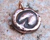 Copper Barefoot Horse Hoofprint Pendant, Natural Hoof Care, Hoof print