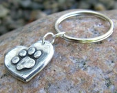 Paw Print on my Heart Keychain, key ring, dog, pet lover, rustic