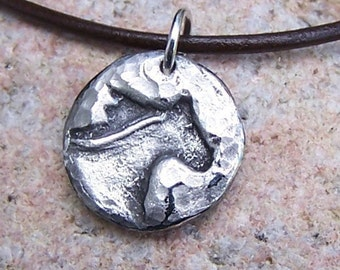 Running Horse Head Necklace, Rustic Horse Jewelry, Mustang, Gift for Her, Equestrian Gift, Small Horse Pendant