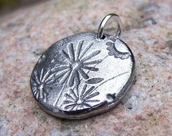 Little Wildflowers pendant, Flower Charm, Rustic Jewelry, Flower Pendant, Gardener Gift, Nature lover gift