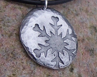 Falling Snowflake Necklace, Rustic Jewelry, Hammered Texture, Winter Snow Pendant, Snowflake Jewelry