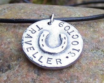 Horse Lovers Pendant or Necklace, Personalized Horseshoe Jewelry, rustic hand stamped pendant, Horse Name Necklace, Memorial