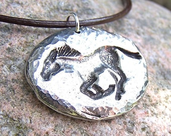 Running Horse Pendant, Mustang Necklace, Rustic Jewelry, Horse Jewelry, Hand Hammered Texture, Handcast Pewter