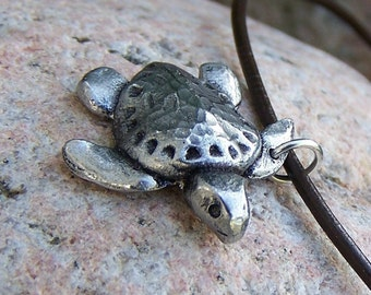 Sea Turtle Necklace, Ridley Turtle Jewelry, Rustic, Summer Beach Theme Pendant, Ocean Lover Gift, Sea Turtle Pendant, Handcast pewter