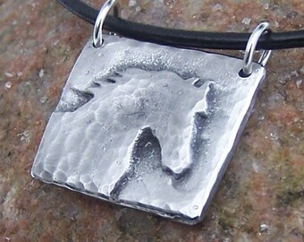 Horse Necklace, Rustic Jewelry, Horse Head Silhouette, Morning Mist Pendant, Horse Lover Gift, Hand Cast Pewter Pendant on Leather Cord