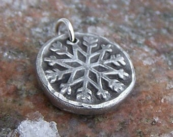Snowflake Pendant, Snowflake Charm, Rustic Jewelry, Winter Pendant, Snow Lover Jewelry