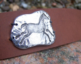 Indian Pony Brown Leather Cuff Bracelet, Horse Bracelet, Hand Hammered Pewter Running Horse