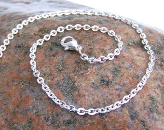 Silver Plated Curb Chain 3mm, 18 inches, lobster clasp, silver color shiny finish, can be shortened upon request