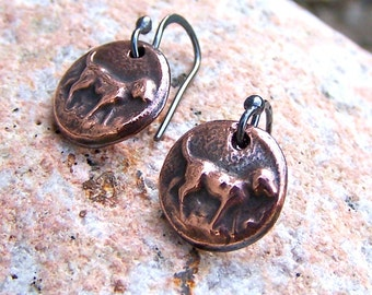Copper Dog Earrings, Copper dogs on sterling silver earwires, handmade recycled copper, ting drop earrings, mixed metal earrings