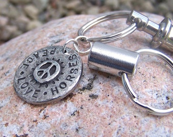 Peace Love Horses Pull Apart Keychain