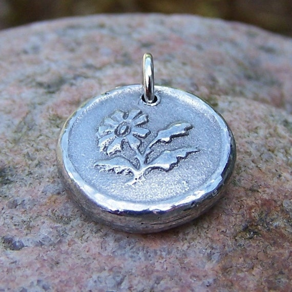 Daisy Flower Pendant, Wildflower Charm, Rustic Jewelry, Gift for Gardener, Gift for Her