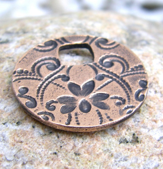 Copper Floral Pattern Pendant, Large Hole, Victorian Pattern, Imprinted design