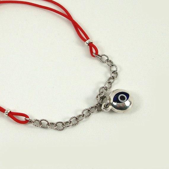Evil Eye Bracelet  Sterling Silver  Red String Good Luck Protection Jewelry