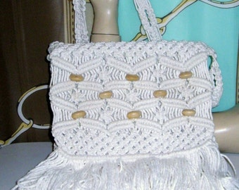"Vintage 70s White Macrame Knit Fringe Purse Wood Beaded Hippie-Boho ""Summer of Love"""