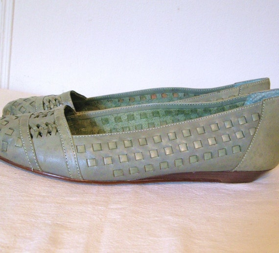 Vintage 80s Cheryl Tiegs Woven Shoes Sea Green Flats Sz10