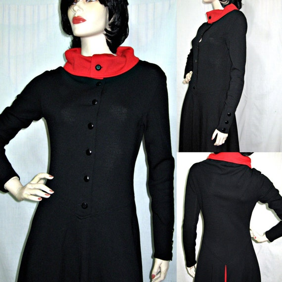 Hold for Gracie Geoffrey Beene Vtg 80s Black & Red Wool Midi Dress S XS