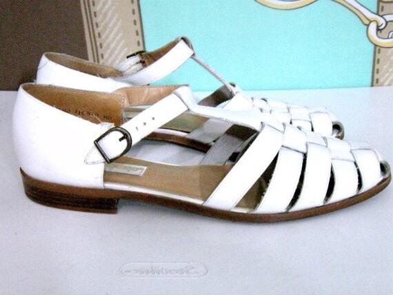 Vtg 80s Woven White Leather T Strap Sandal Shoe Sz 9