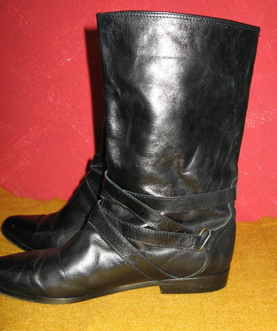 vintage 80s strappy black leather flat pirate boots sz 8