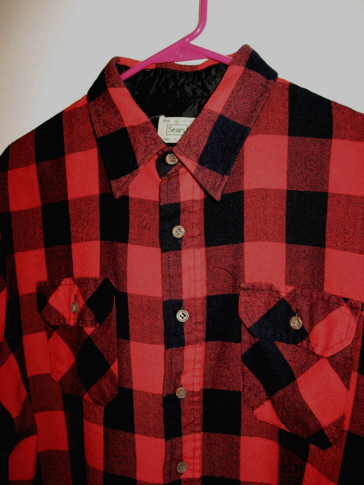 Men Vintage Shirt Black Red Buffalo Plaid Shirt Tall Man Sz
