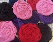 """Fabric Flowers Favor Wedding Flowers Rose Appliques Rolled 8 Bride Hair  French Rosettes  1.5"""" Embellishment Scrapbook Handmade 1/2 Off"""