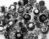 Fabric Flowers YoYo Black White Button Shower Birthday Party Rosette Bobby Pin Hair Clip Bow Yo Quilt Scrapbook Wholesale Handmade 1/2 Off