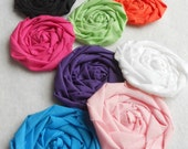 """Bobbie Pin Rolled Rose Applique Fabric Flowers Bride Wedding 20 Shower Birthday Party French Rosette 1"""" Scrapbook Handmade Wholesale"""