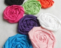 "Bobbie Pin Rolled Rose Applique Fabric Flowers Bride Wedding 20 Shower Birthday Party French Rosette 1"" Scrapbook Handmade Wholesale"